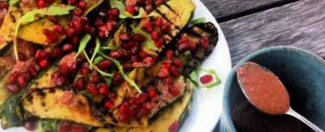 Zucchini and Pomegranate Salad with Creamy Dressing
